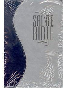 Bible Louis Segond 1910 similicuir duo bleu nuit et gris avec fermeture éclair ESA333