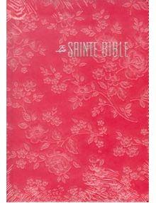 Bible Louis Segond 1910 vieux rose relief fleurs ESA562