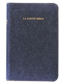 Bible Louis Segond 1910 couverture jean's tranche or onglets, ref 1078